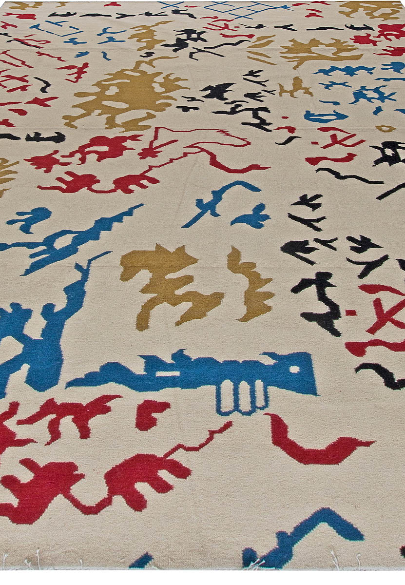 Bold White, Red, Yellow, Black and Blue Flat-Woven Wool Rug N11039