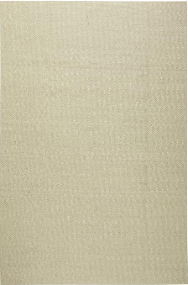 Cream Viscose Flatweave Rug with Geometric Pattern N11309