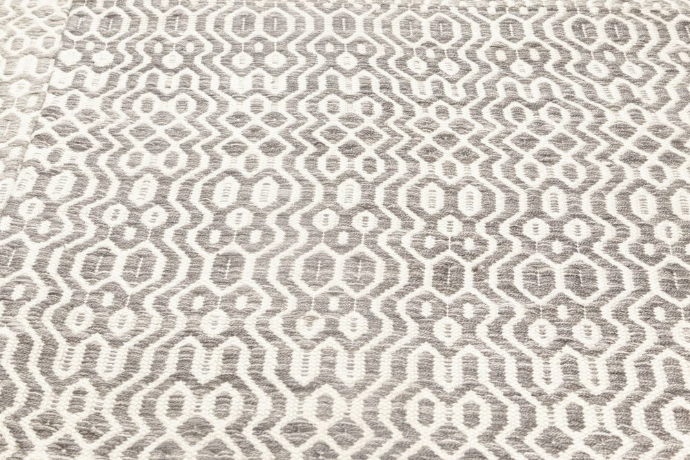 Contemporary White and Gray Flat-Weave Rug N11858
