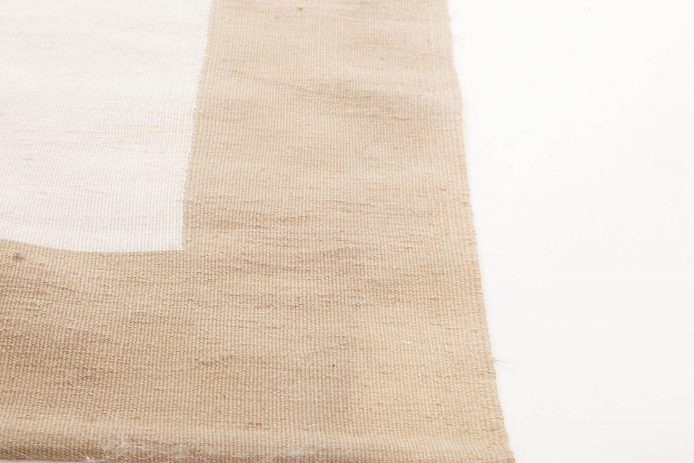 Contemporary Flat-Weave Wool Beige and White Geometric Rug N11496