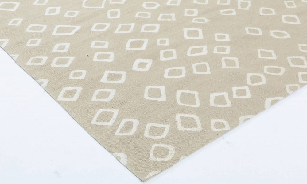 Contemporary Beige and Off-White Flat-Weave Hand Knotted Wool Rug N11493