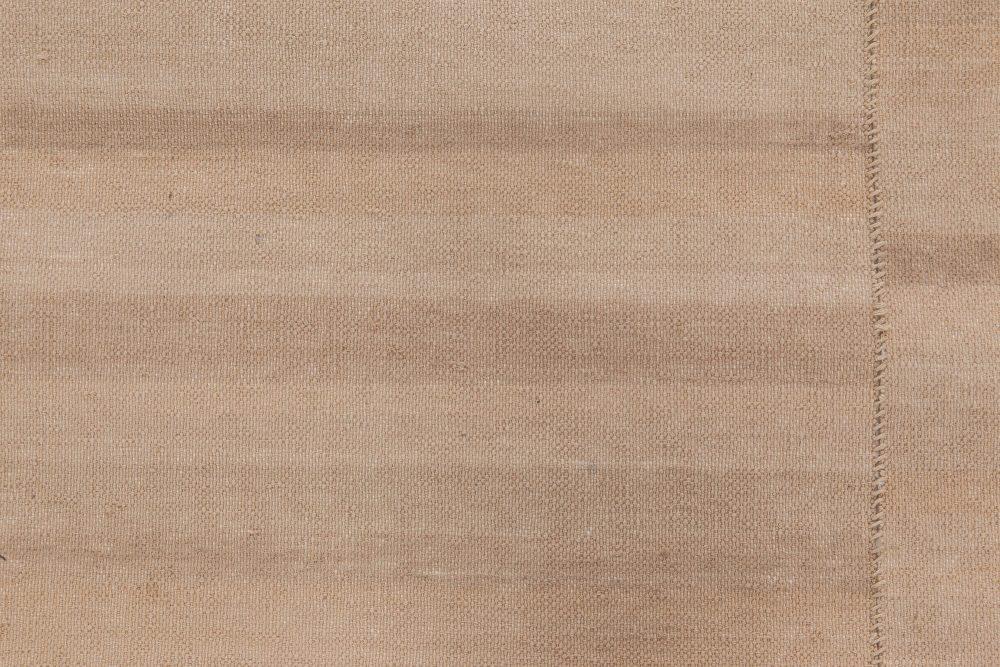 Contemporary Beige Kilim Flat-Woven Cotton Runner N11671