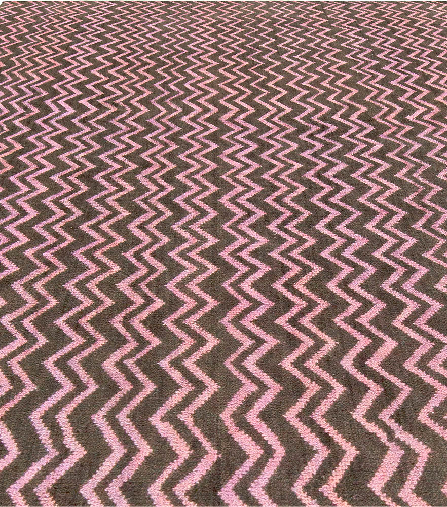 Chocolate Brown & Dusty Pink Geometric Hand Knotted Wool Rug N10881