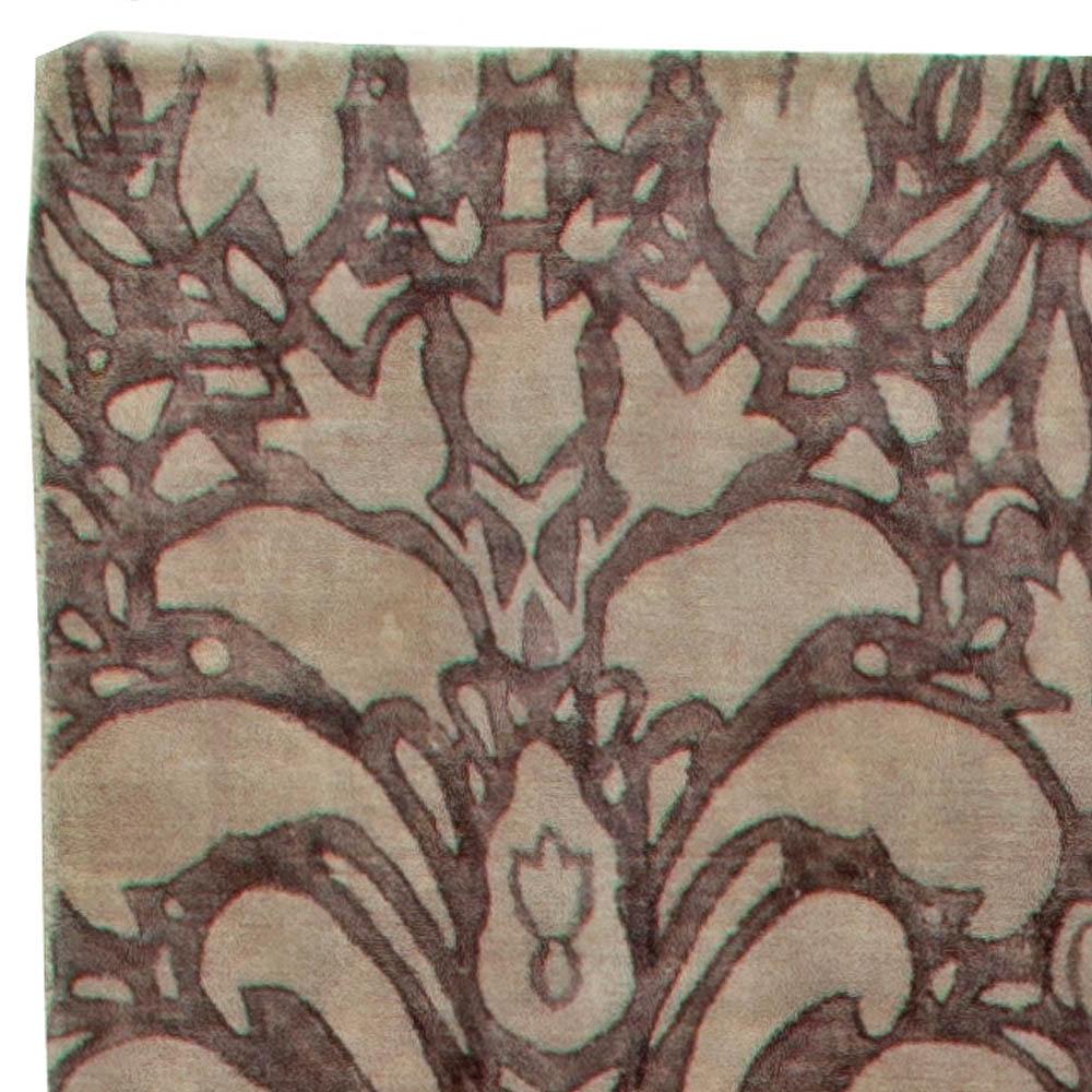 Modern Floral Deep Brown and Beige Hand Knotted Wool Rug N10900