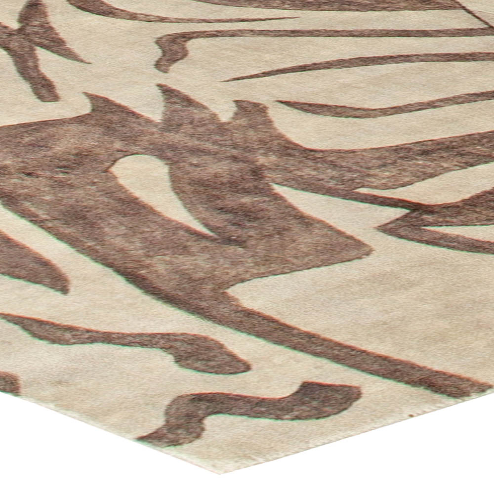 Modern Abstract Warm Beige and Brown Handwoven Silk Rug N10901