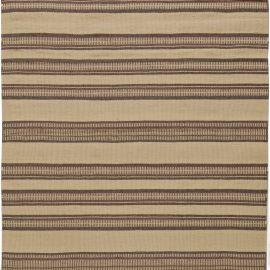 Modern Striped Beige and Brown Handwoven Wool Rug N10882