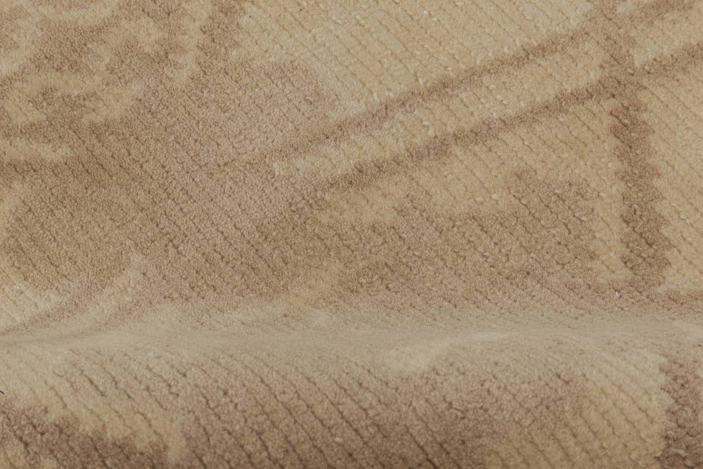 Contemporary Taupe and Beige Hand Knotted Wool Rug N11630