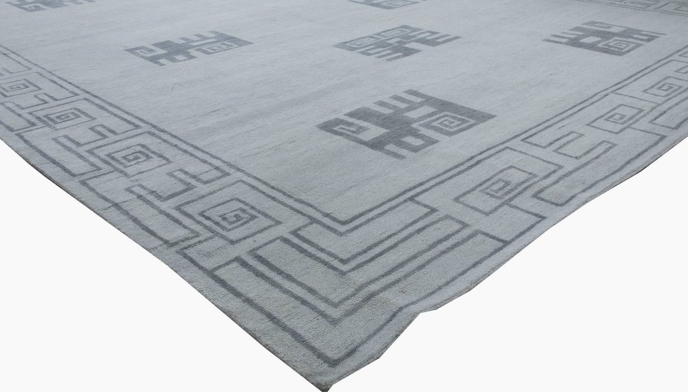 Ivan Da Silva-Bruhns Inspired Art Deco Gray and Off-white Wool Rug N11599