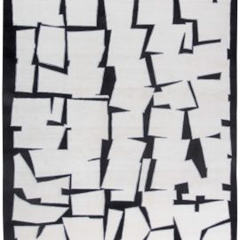 Cubist Inspired White, Black & Gray Hand Knotted Silk & Wool Rug N11344