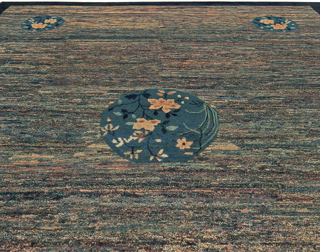 Vintage Chinese Art Deco Blue Handwoven Wool Rug BB5844