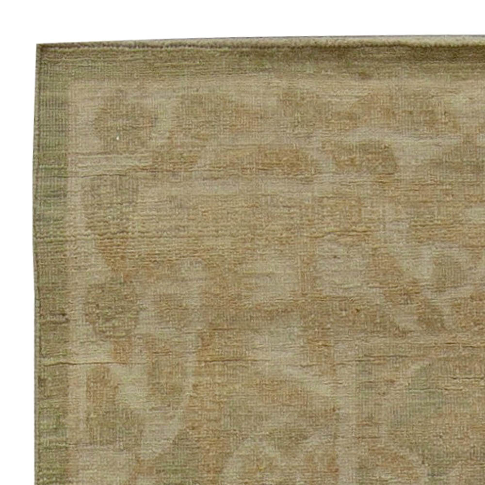 Tabriz Design Light Brown and Beige Hand Knotted Wool Rug N11066