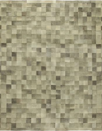 Greek Key Contemporary Geometric Beige & Gray Silk Carpet N11798