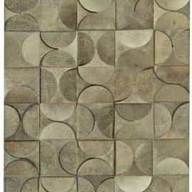 Contemporary Geometric, Gray, Leather and Hair Handmade Rug N11231