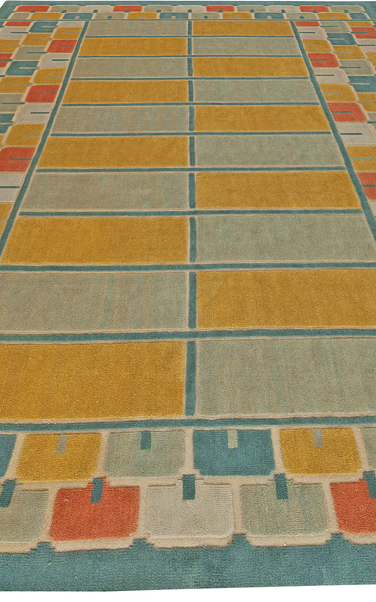 Half Pile Swedish Blue Mixed with Red, Yellow and White Rug N10933