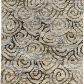 Contemporary Beige, Gray and Sky Blue Hand Knotted Hemp Rug N11658
