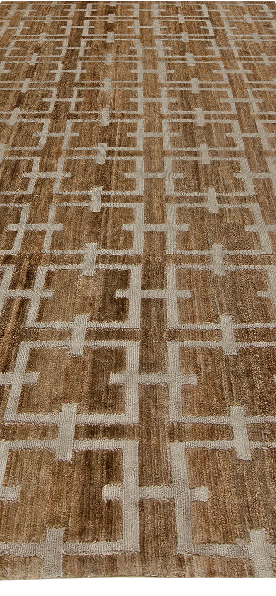 Geometric Deep Brown, Beige and Gray Harvin Hemp and Silk Rug II N10892