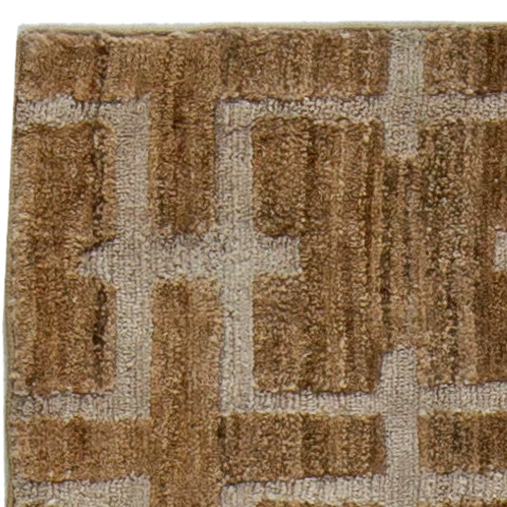 Geometric Deep Brown, Beige and Gray Harvin Hemp and Silk Rug II N10892