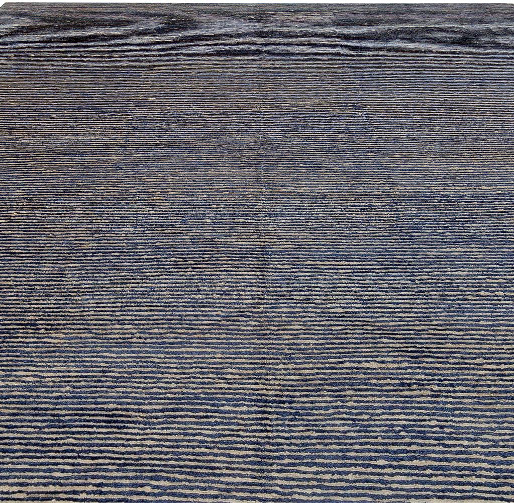 Modern Hemp and Silk Striped Indigo and Sky Blue Rug N11235
