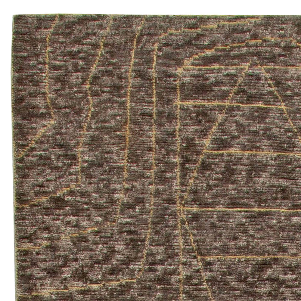 Hand-knotted Moroccan Wool Rug with Tribal Design N11000