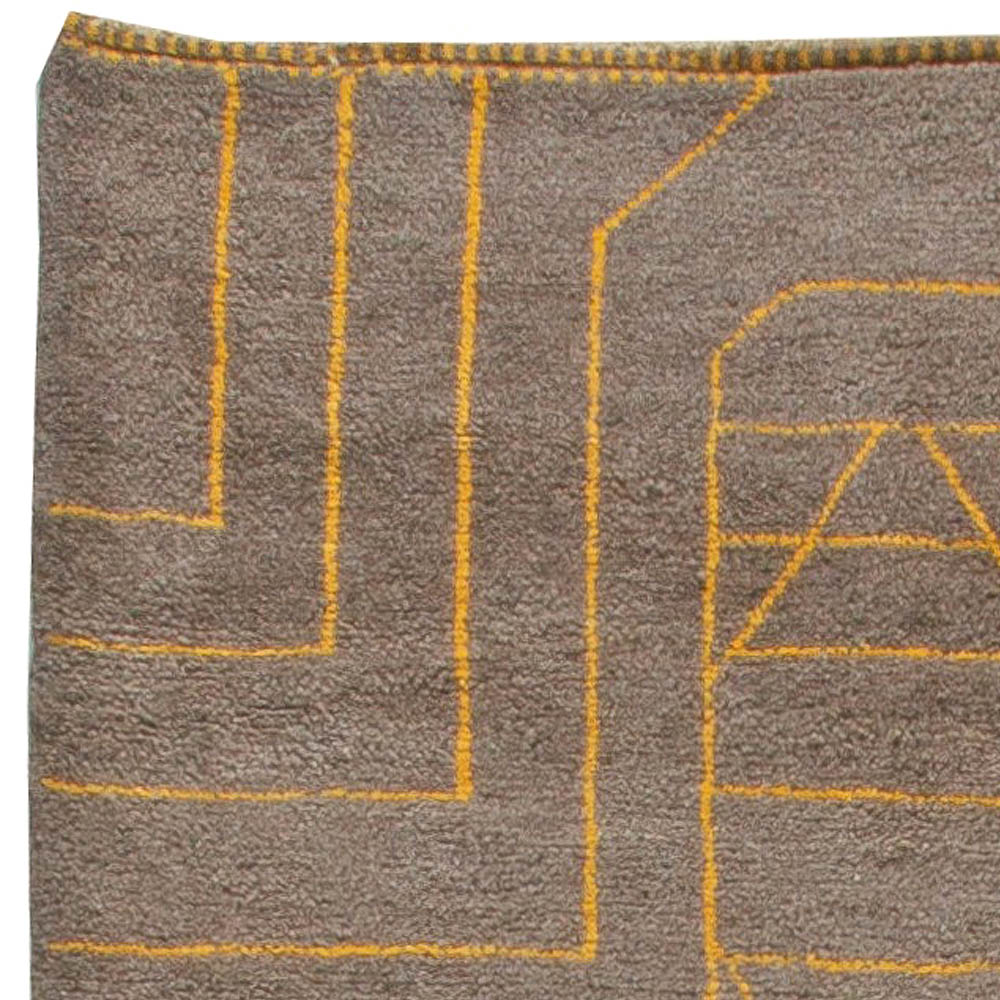 Hand-knotted Moroccan Wool Rug with Tribal Design in Yellow and Brown N11026