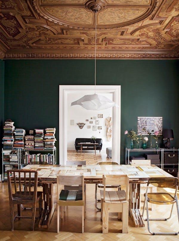 hunter-green-interior-green-wall-paint-living-room