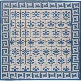 Contemporary Indian Dhurrie Blue and White Handwoven Cotton Rug N11019