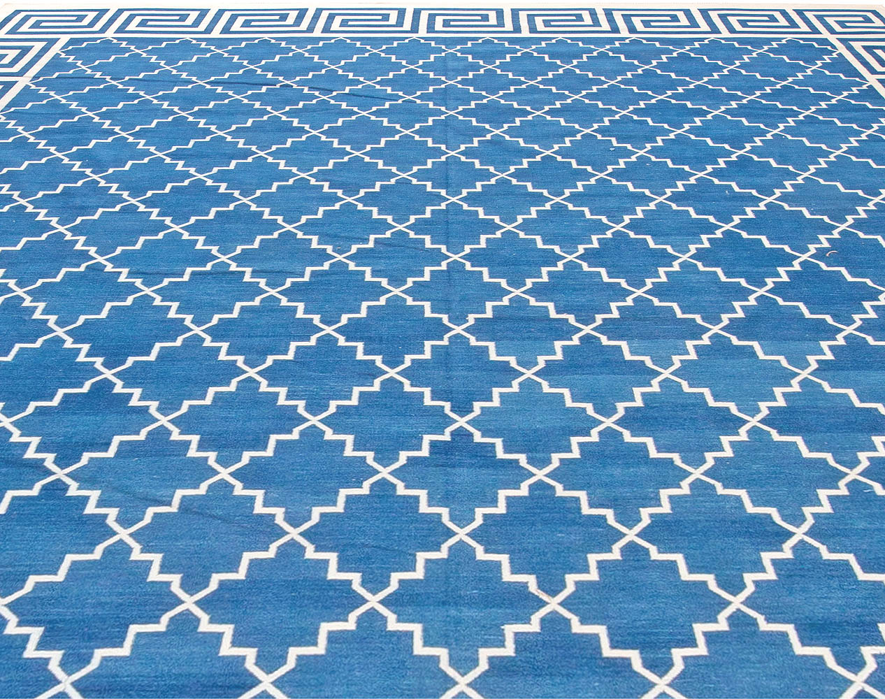 Contemporary Indian Dhurrie Blue and White Handwoven Cotton Rug N11016