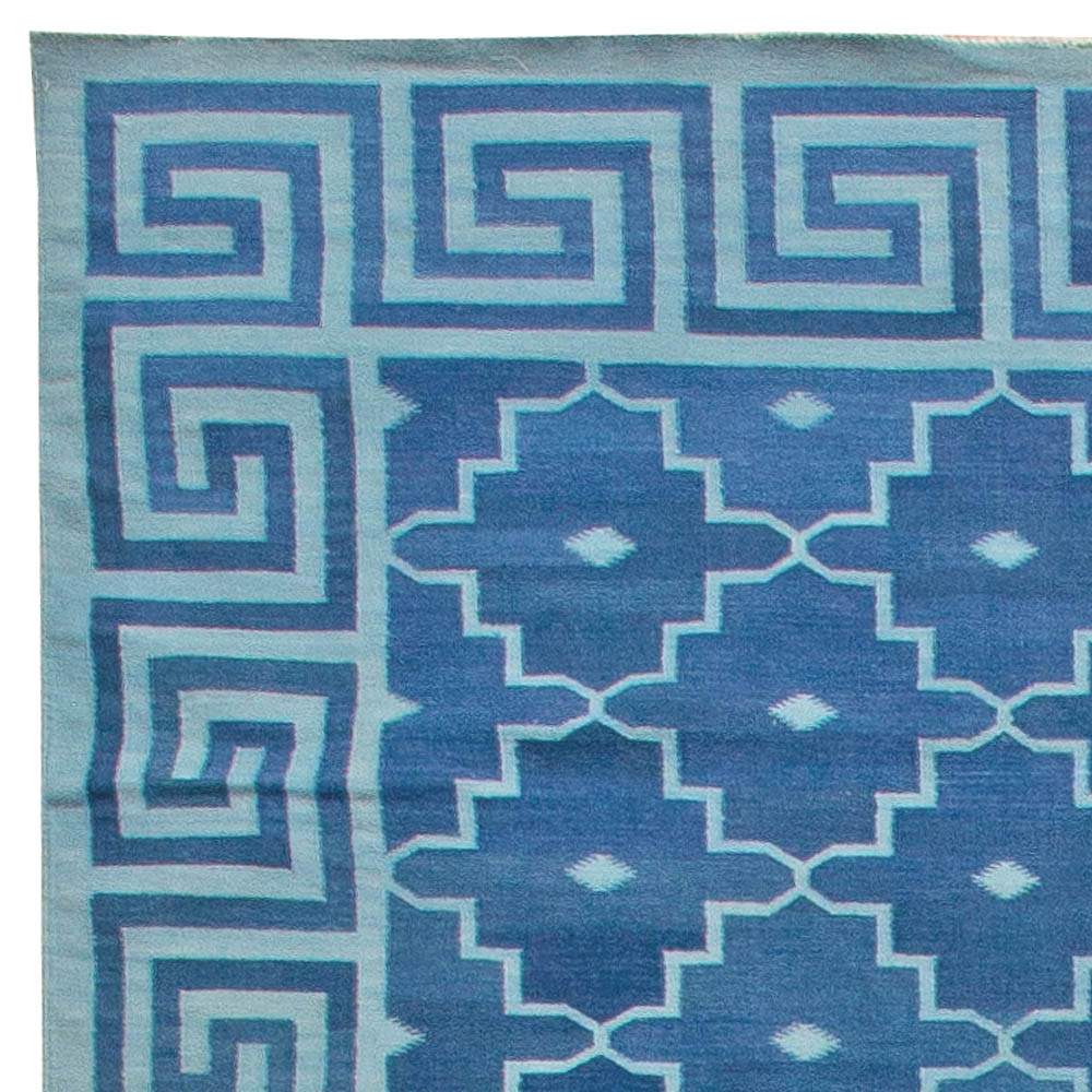Contemporary Indian Dhurrie Blue Hand Knotted Cotton Rug N11021