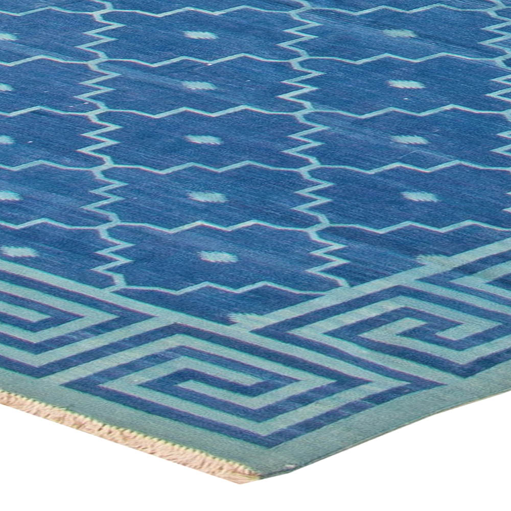 Contemporary Indian Dhurrie Deep Blue Flat-Woven Cotton Rug N11022