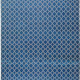 Modern Indian Dhurrie Deep Indigo Blue and White Cotton Rug N11020