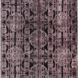 Contemporary Hand-Tufted Purple Indian Carpet N11596