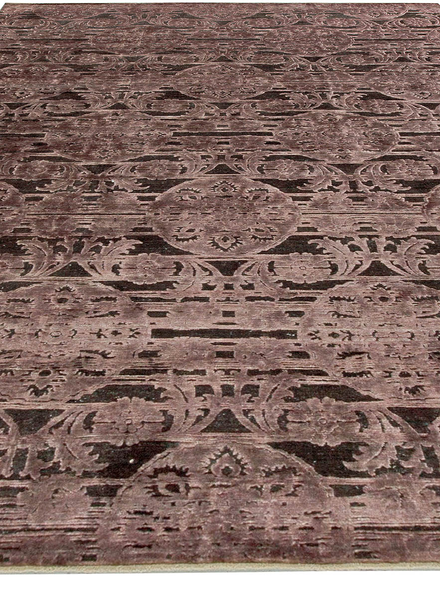 Contemporary Indian Lilac and Plum Handwoven Silk and Wool Rug N11057