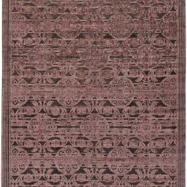 Contemporary Indian Lilac and Plum Hand Knotted Wool and Silk Rug N11033
