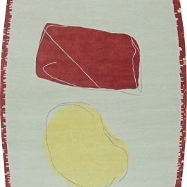 Modern Abstract Red, Yellow & Off-white Handwoven Wool Rug N11045