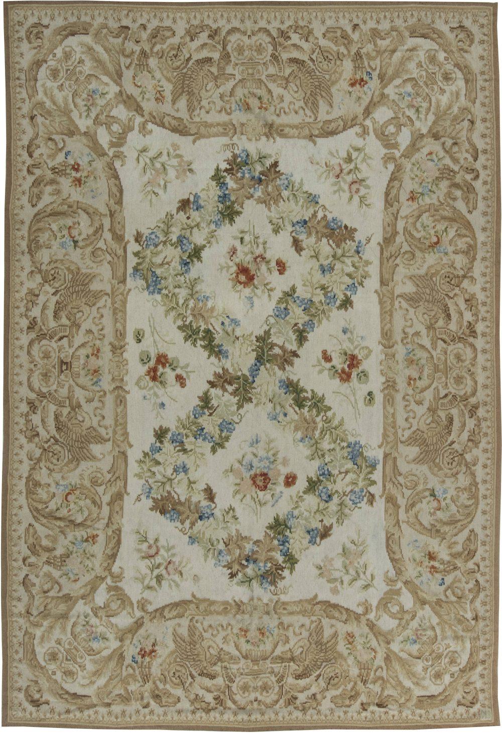 European Inspired Bassarabian Beige and Off-White Wool Rug N11521