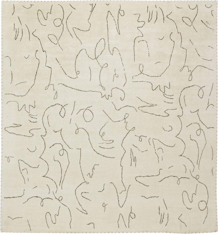 Modernist Jean Cocteau Style Rug N11642