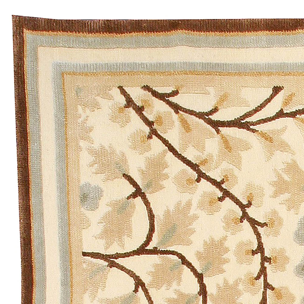 Maple Design Brown, Yellow, Green and Blue Handwoven Wool Rug N10977