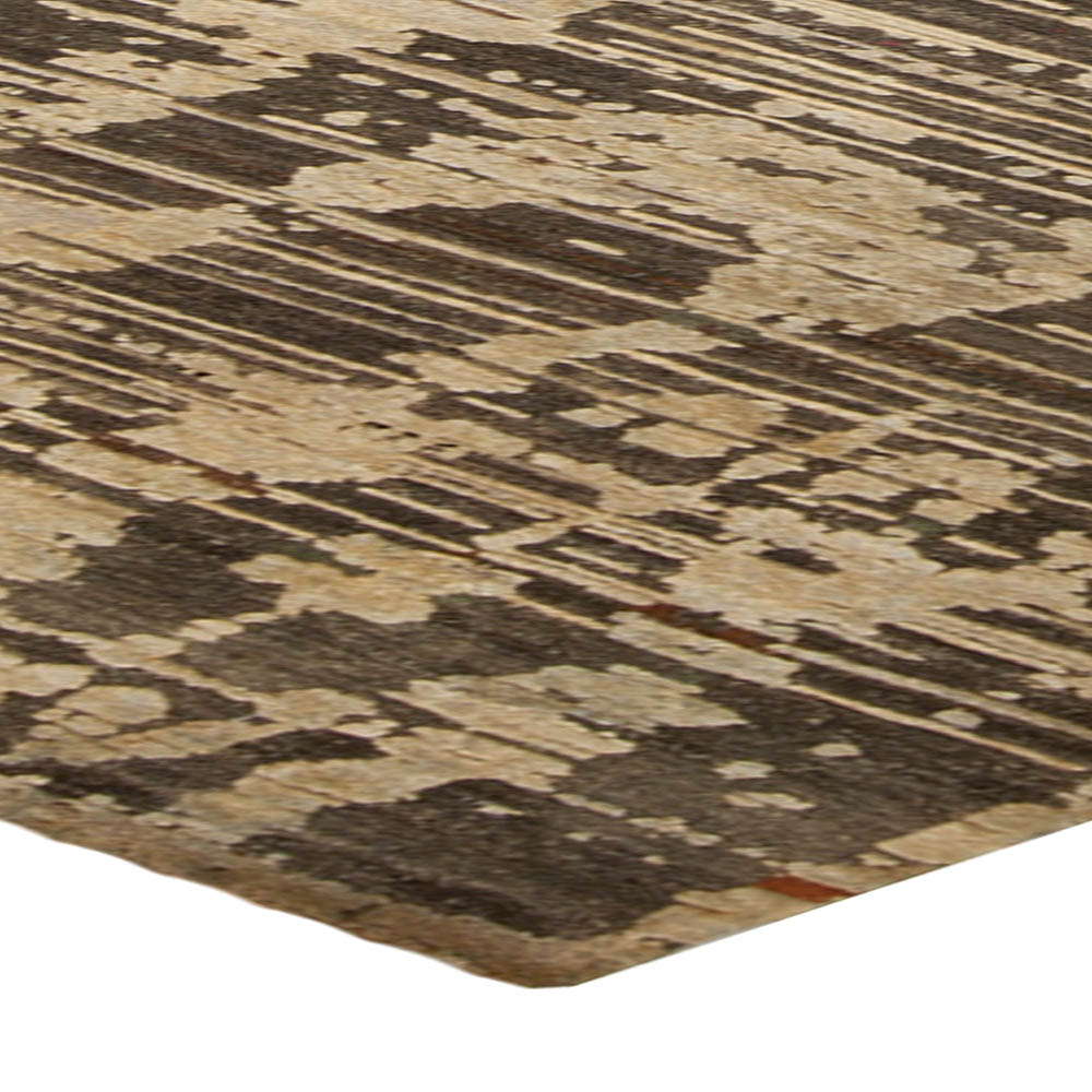 Contemporary Anatolia Beige & Brown Hand Knotted Wool Rug N10265