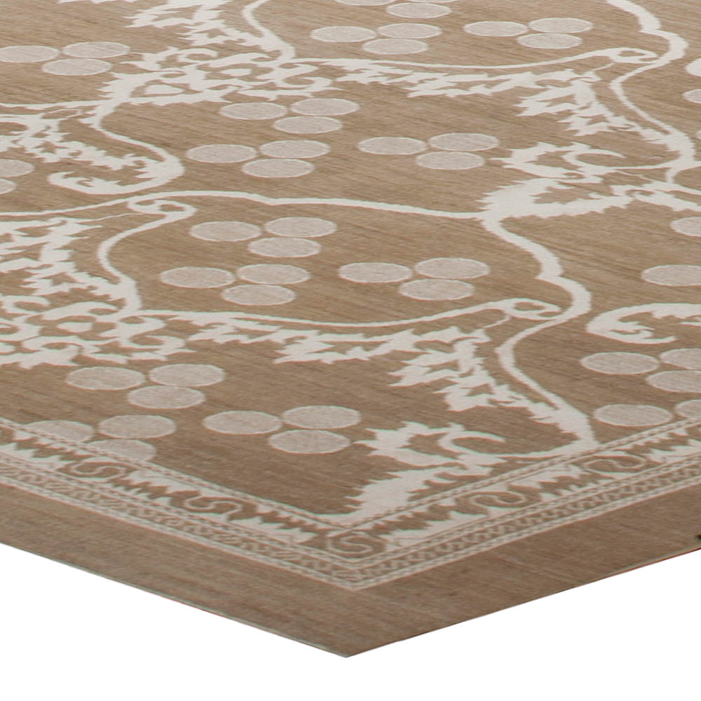 Traditional European Inspired Beige and Off-White Wool Rug N10017