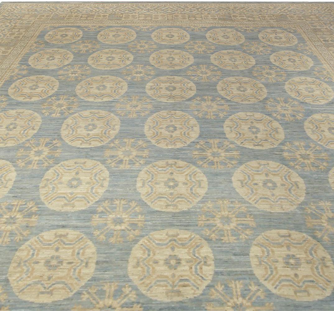 Contemporary Samarkand Blue & Light Brown Wool Rug N10673