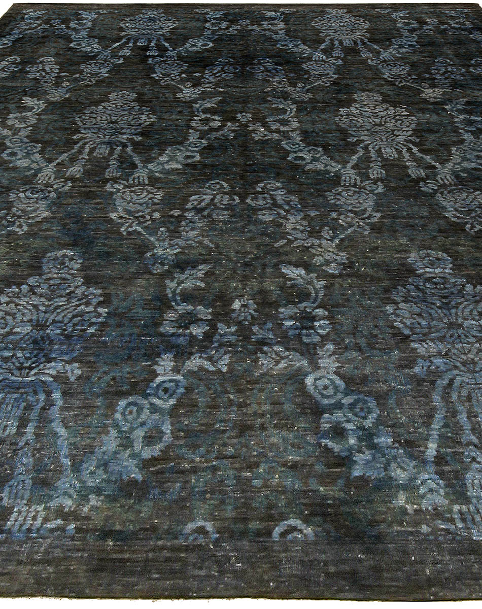 Navy and Blue Handwoven Wool Damask Rug N10735