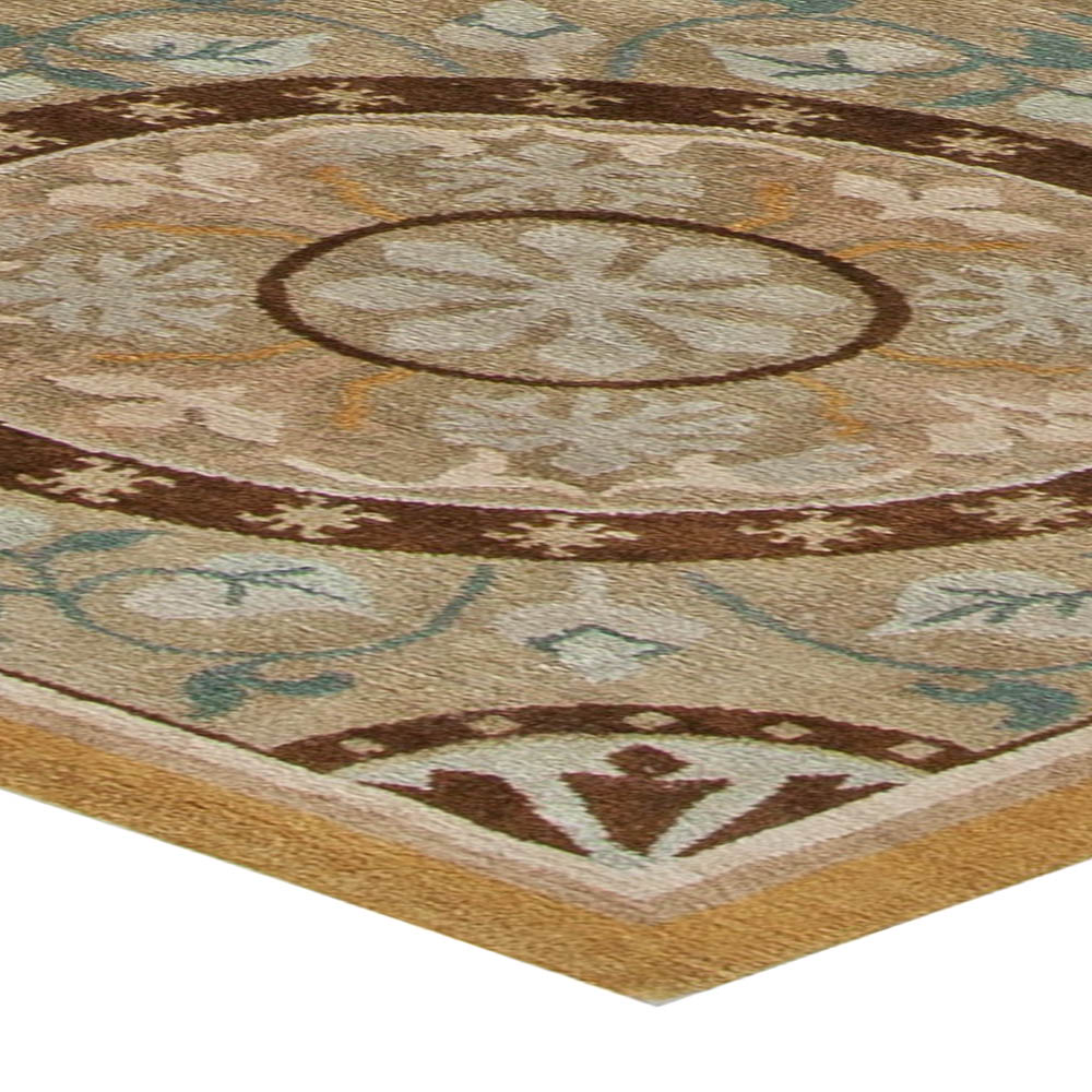 Wind Mill Design Warm Beige, Light Brown, Off-White and Teal Rug N10986