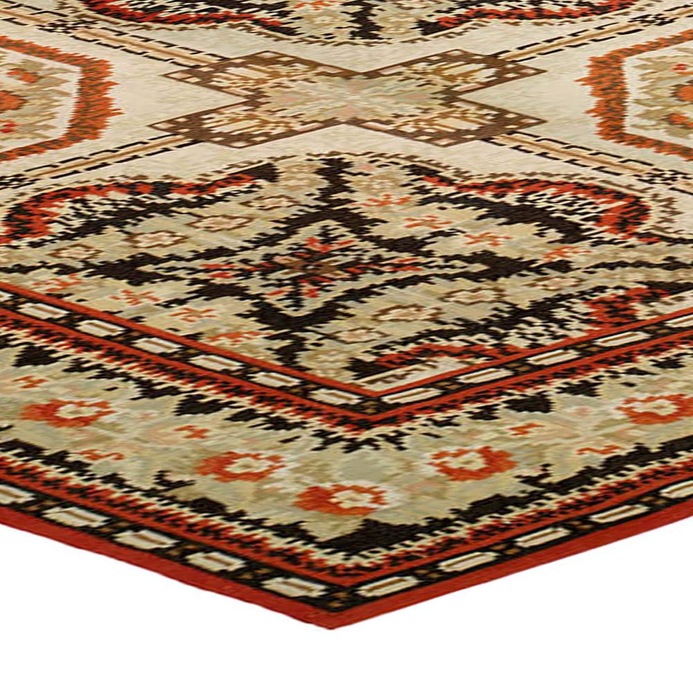 Bassarabian Floral Cream and Orange Handwoven Wool Rug N10654