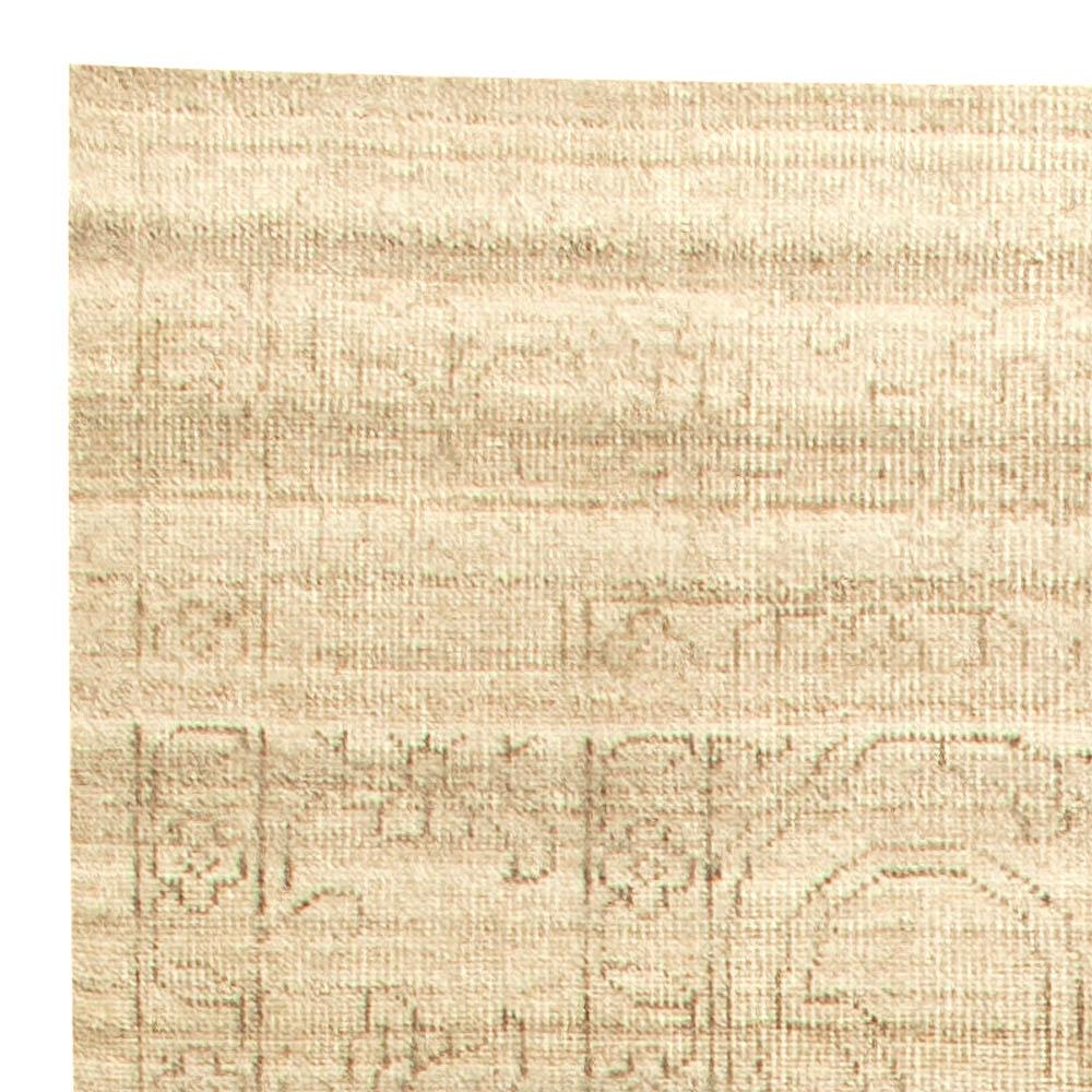 Contemporary Traditional Oriental Inspired Beige Wool Rug N11261