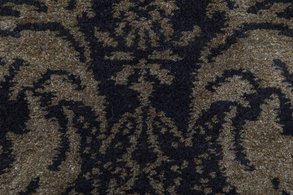 Modern European Inspired Tibetan Black and Gold-Brown Rug N11568
