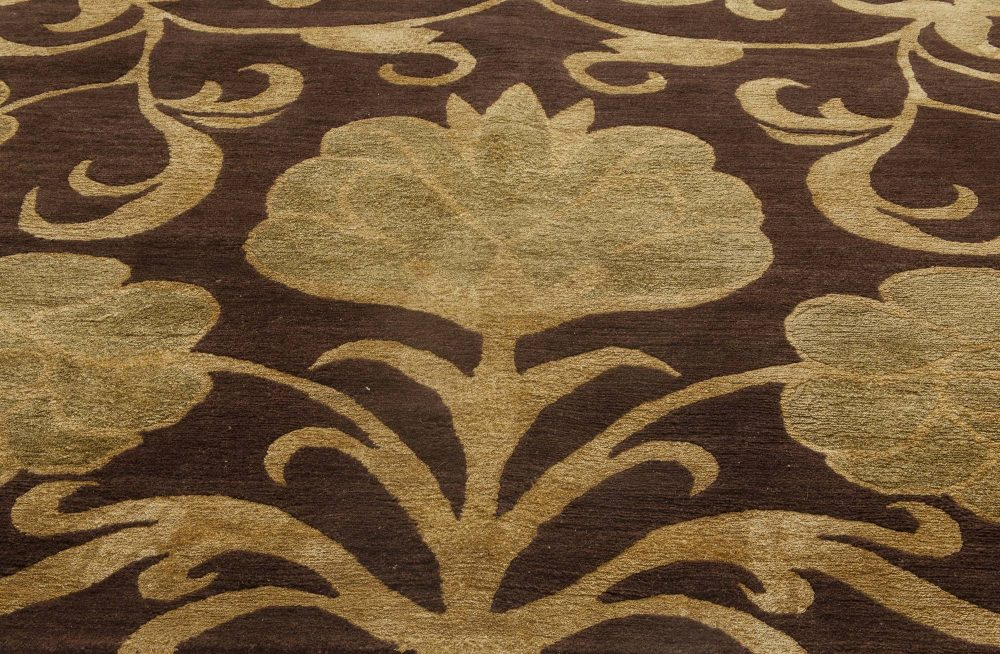 Contemporary European Inspired Yellow and Deep Brown Wool Rug N11555