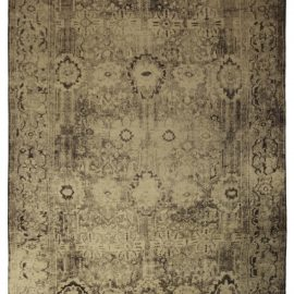 Contemporary Eggplant Hand Knotted Wool Beige and Black Rug N10661
