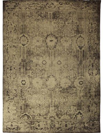 Contemporary Indian Floral Beige, Light Gray and Lilac Wool Rug N10777
