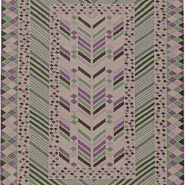 Swedish Design Light Green, Violet, Black and Beige Wool Rug N10793