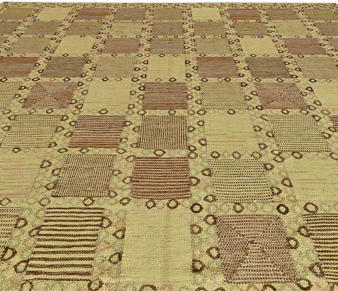 Swedish Design pastel Green, Olive and Brown Hand Knotted Wool Rug N11210